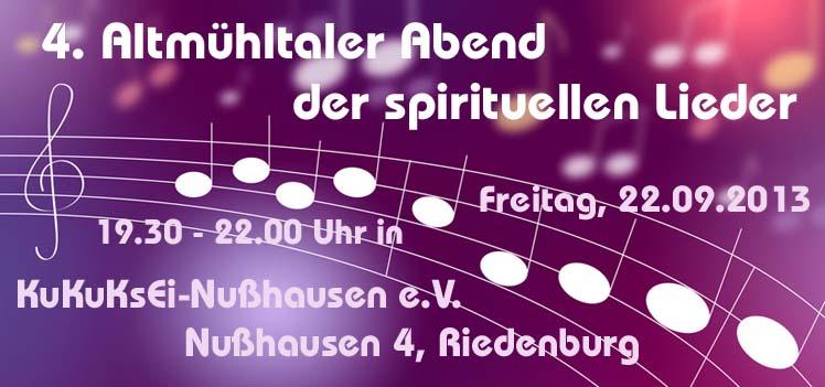 4. Spirituele Lieder Altmühltal – 20.09.2013 – 19.30 – 22.00 Uhr